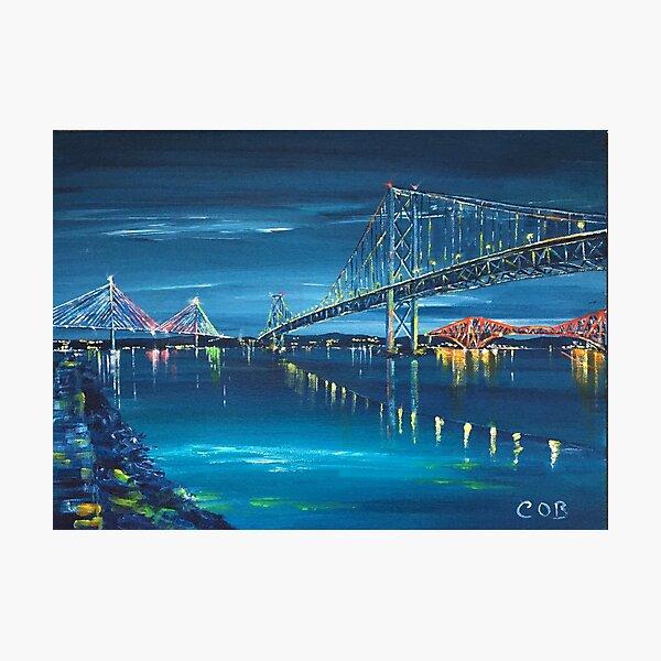The Three Forth Bridges by Night, Edinburgh Photographic Print