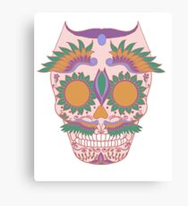 pink owl sugar skull Canvas Print