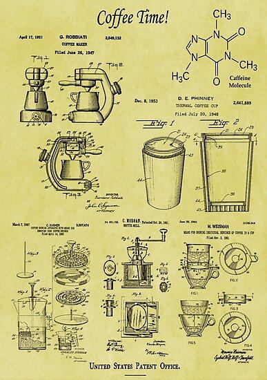 Coffee time vintage patent blueprint art posters by madebydesign coffee time vintage patent blueprint art by madebydesign malvernweather Choice Image