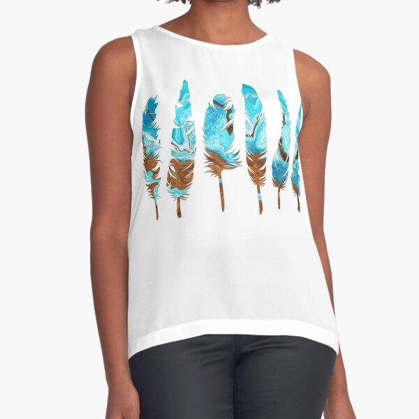 Birds of a Feather: Aqua & Teal Sleeveless Top
