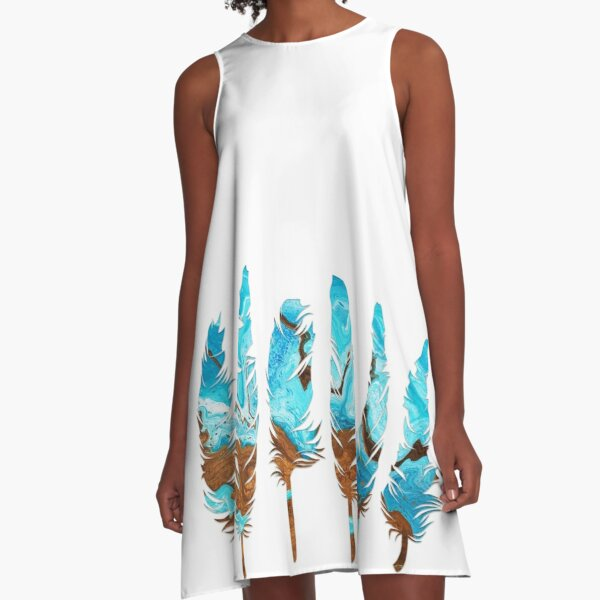 Birds of a Feather: Aqua & Teal A-Line Dress