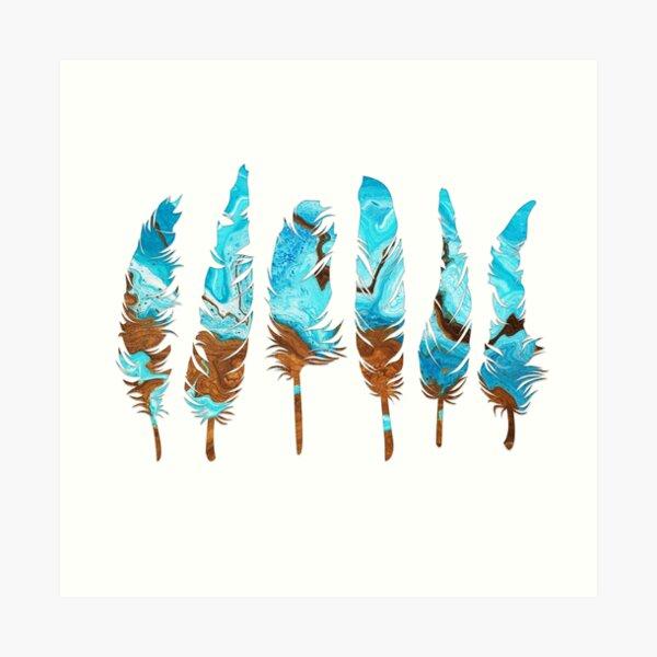Birds of a Feather: Aqua & Teal Art Print