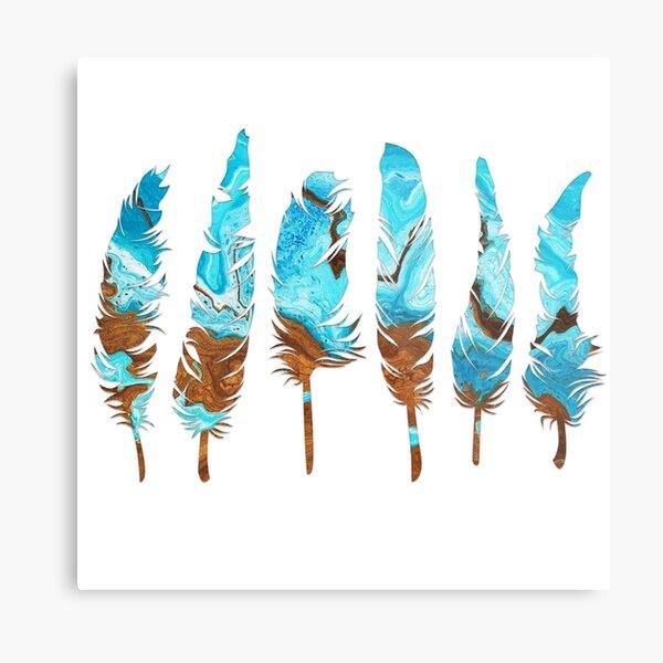 Birds of a Feather: Aqua & Teal Metal Print