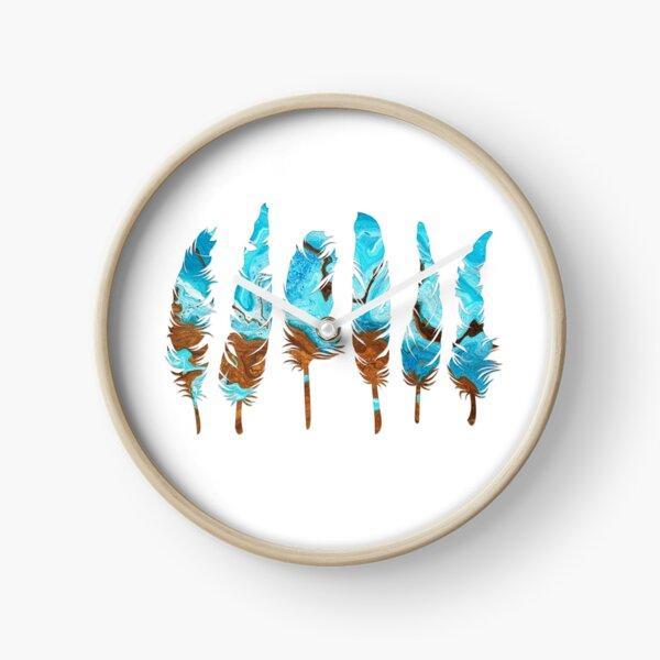 Birds of a Feather: Aqua & Teal Clock