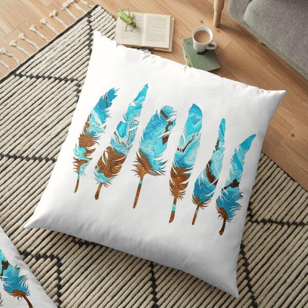 Birds of a Feather: Aqua & Teal Floor Pillow