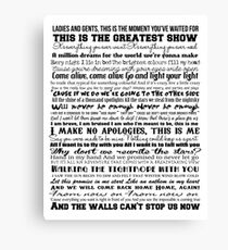 The Greatest Showman Typography (black) Canvas Print