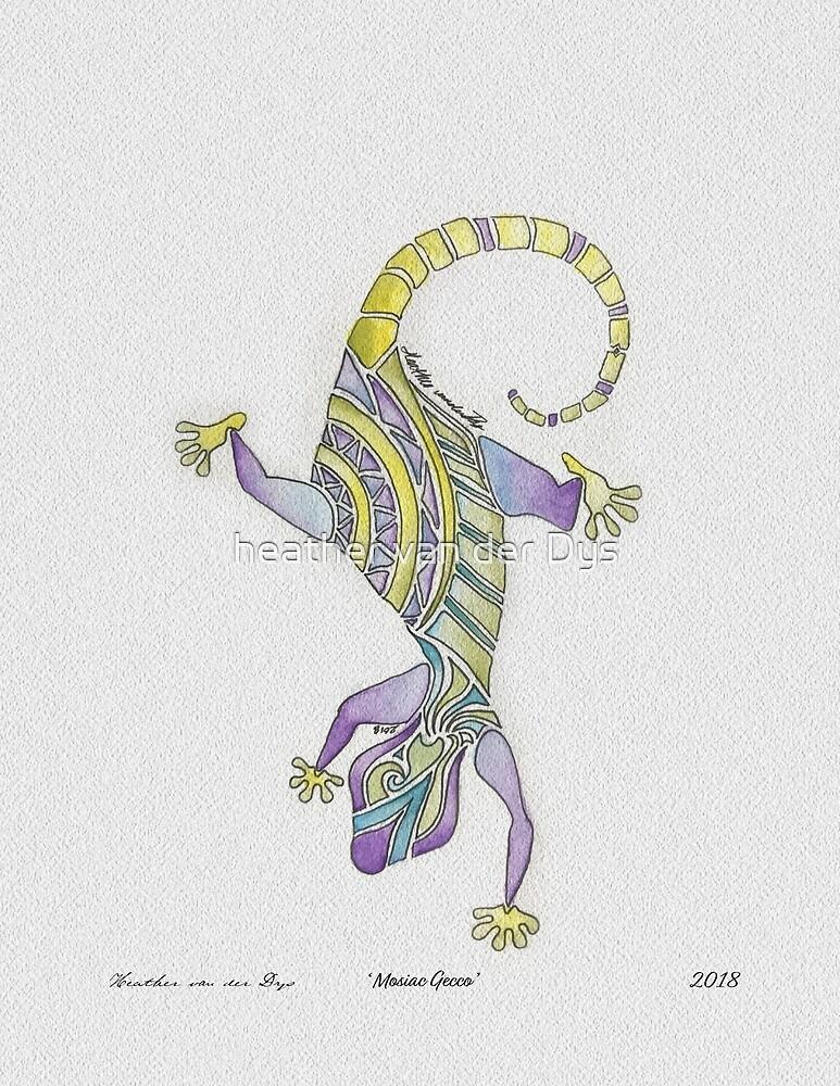 Watercolor Painted Mosaic Gecko by heather van der Dys