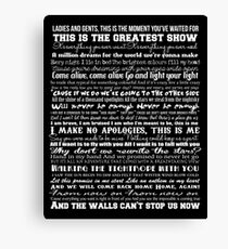 The Greatest Showman Typography (white) Canvas Print