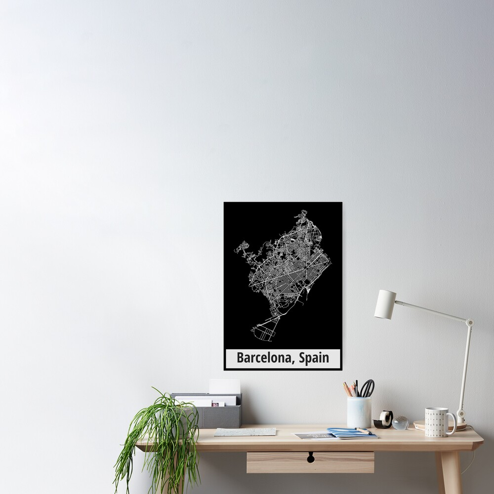 Barcelona, Spain Street Network Map Graphic Poster