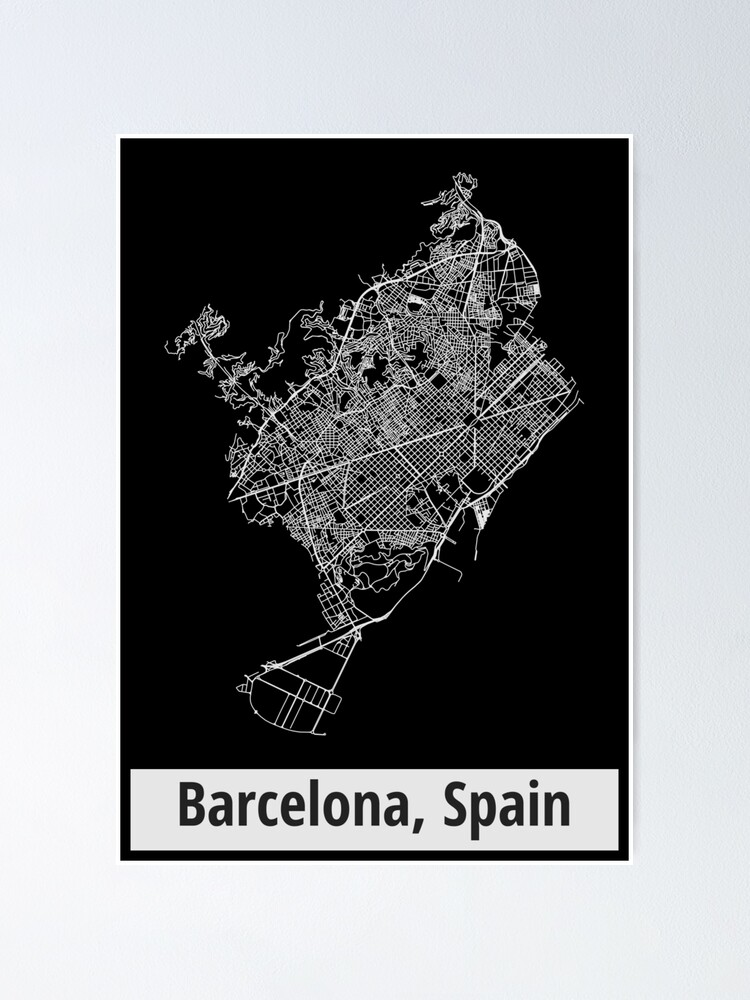 Alternate view of Barcelona, Spain Street Network Map Graphic Poster