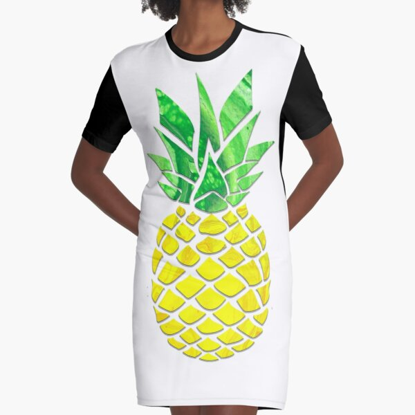 Pineapple Acrylic Pour Graphic T-Shirt Dress