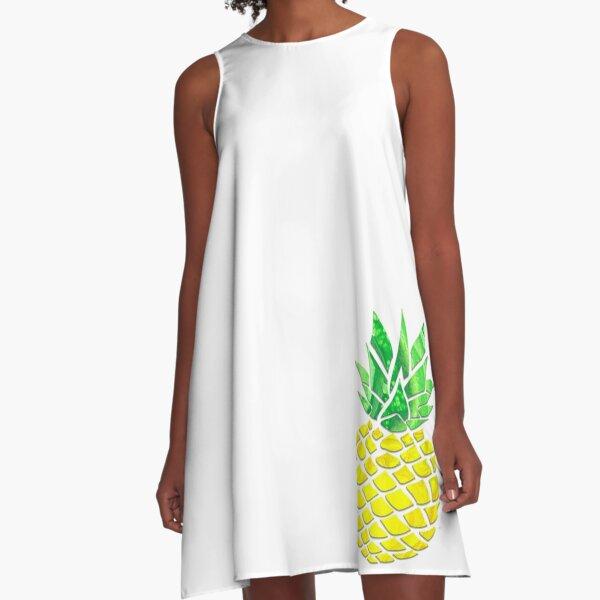 Pineapple Acrylic Pour A-Line Dress