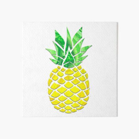 Pineapple Acrylic Pour Art Board Print