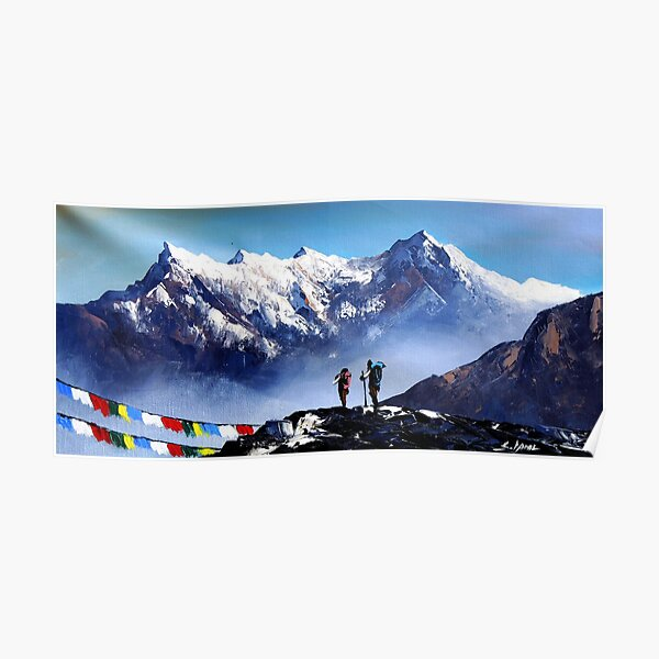 Panoramic View Of Ama Dablam Peak Everest Mountain Poster