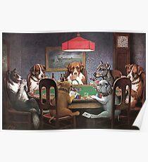 Póster Perros jugando al póker