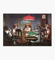 Dogs Playing Poker Photographic Print