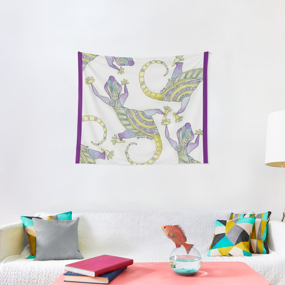 Watercolor Painted Mosaic Gecko Tapestry
