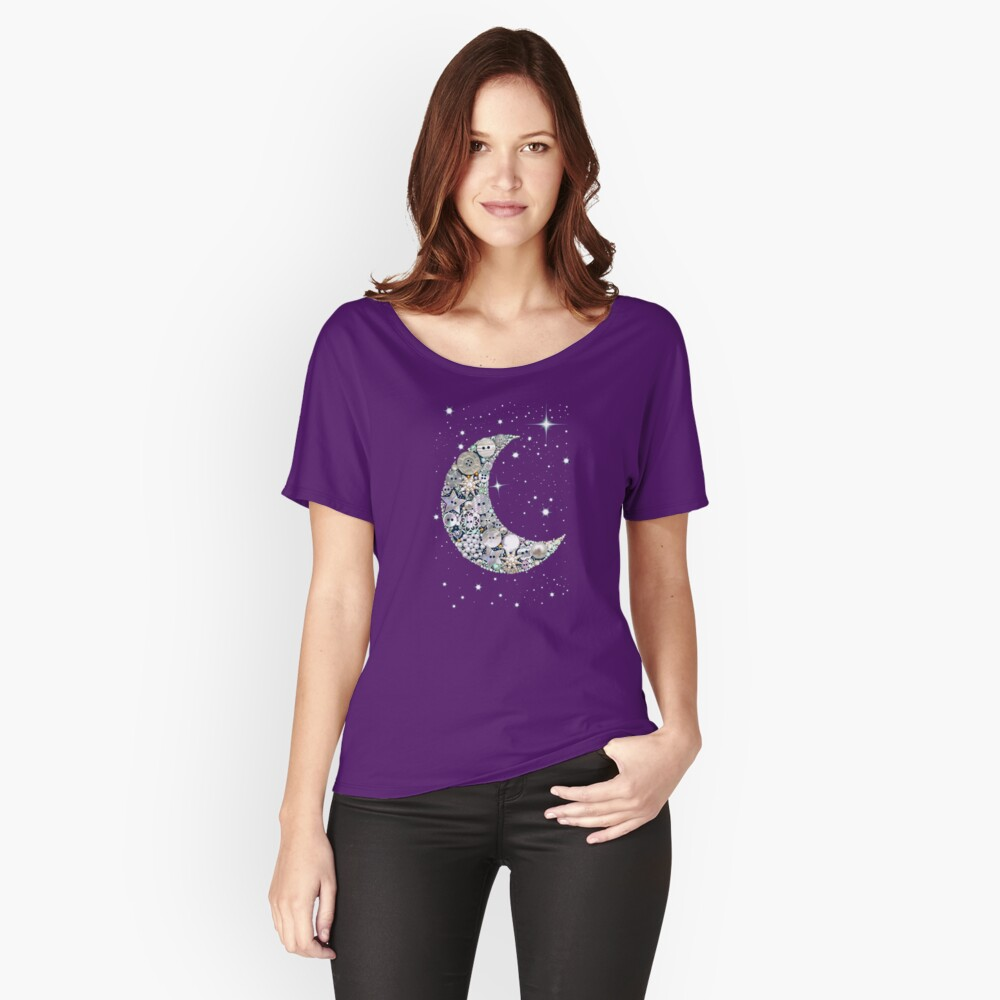 Moon // vintage button moon and stars // Venus // Womens Relaxed Fit T-Shirt