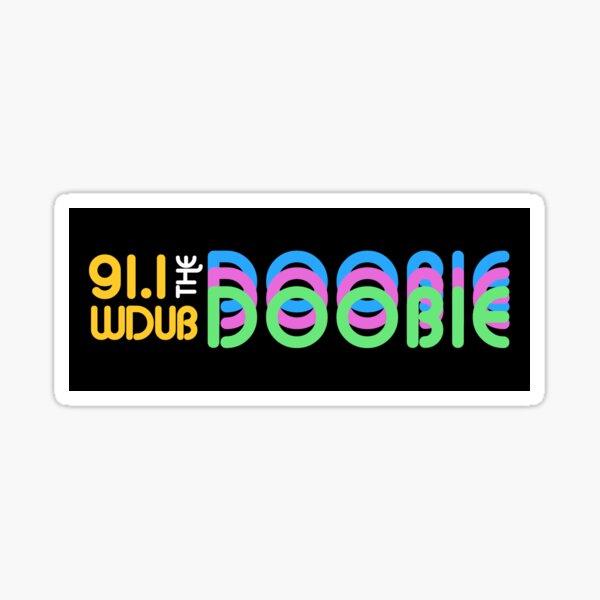 91.1 WDUB the Doobie Retro Rainbow Font Sticker