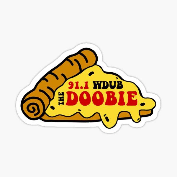 91.1 WDUB the Doobie Pizza Design Sticker