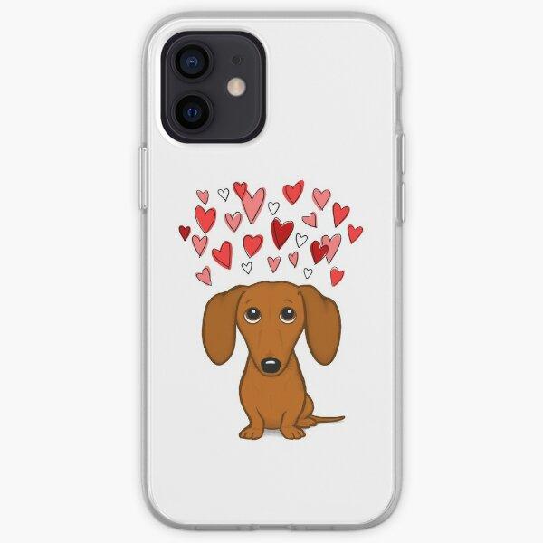 Dachshund lindo con corazones Funda blanda para iPhone