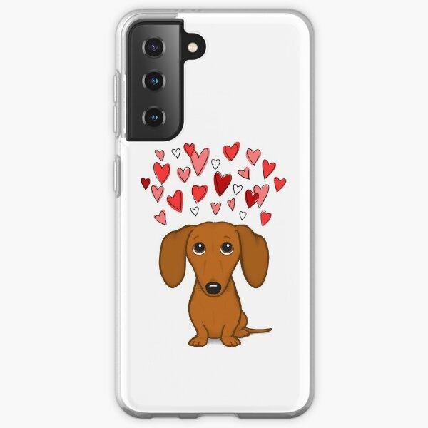 Cute Dachshund with Hearts Samsung Galaxy Soft Case
