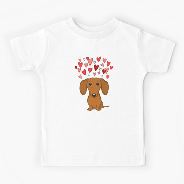 Dachshund lindo con corazones Camiseta para niños