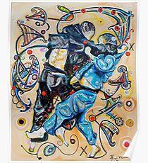 Jitsu-Blue - Original Painting BJJ Art By Kim Dean Poster