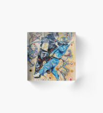 Jitsu-Blue - Original Painting BJJ Art By Kim Dean Acrylic Block