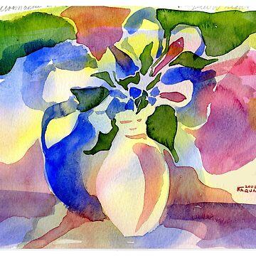 Blue Vase watercolor by Naquaiya