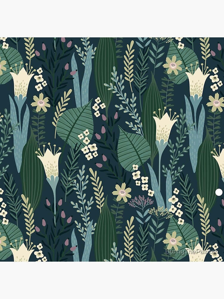 Wonderful Mid-Century Style Evening Lily And Wildflower Pattern  by BunnyThePainter
