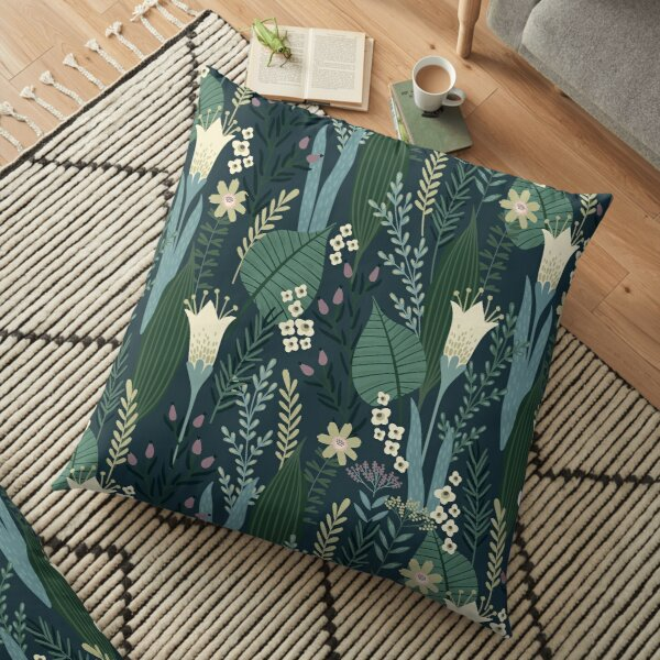 Wonderful Mid-Century Style Evening Lily And Wildflower Pattern  Floor Pillow