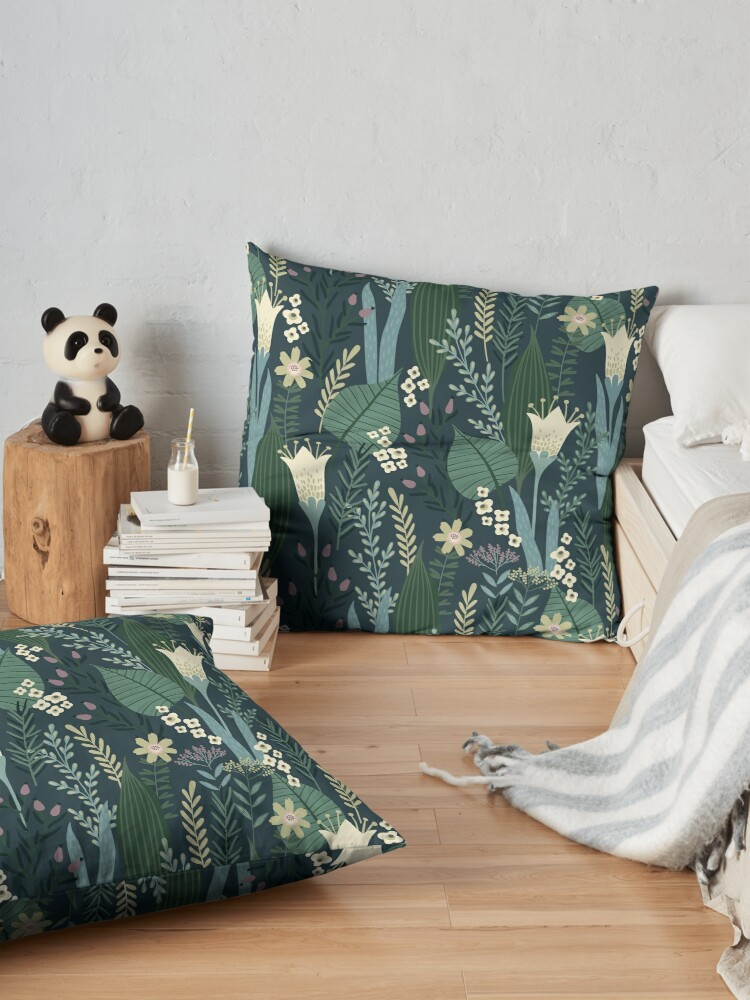 Alternate view of Wonderful Mid-Century Style Evening Lily And Wildflower Pattern  Floor Pillow