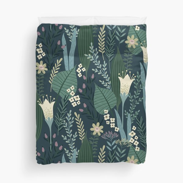 Wonderful Mid-Century Style Evening Lily And Wildflower Pattern  Duvet Cover