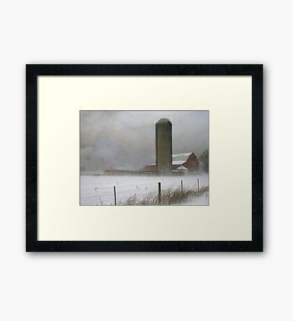 Blizzard On The Farm Framed Print