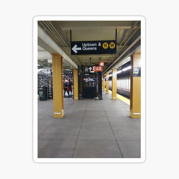 Subway, Metro station, New York, Manhattan, Brooklyn, New York City, architecture, street, building, tree, car, pedestrians, day, night, nightlight, house, condominium,  Sticker
