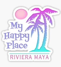 RIVIERA MAYA Souvenir Happy Palm Tree Sun Beach Sticker