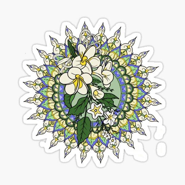 Frangipani Mandala, Yellow Green and Blue Sticker
