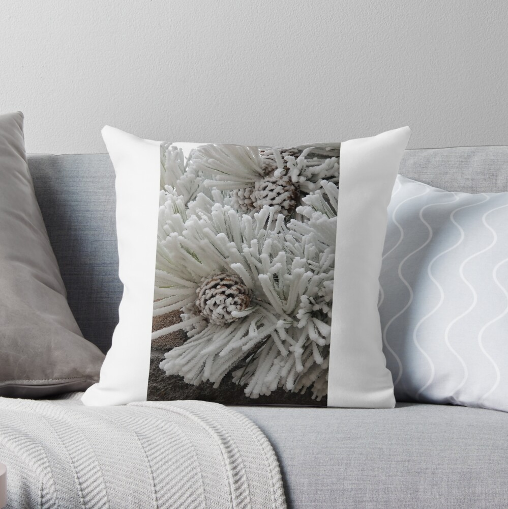 Frosted Pine Cones Winter Wonderland Throw Pillow