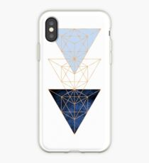 Geometric Triangles in Blue and Rose Gold iPhone Case