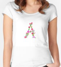Cute Elegant Colorful Floral Letter A Women's Fitted Scoop T-Shirt