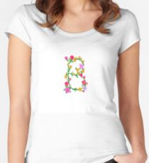 Elegant Colorful Floral Letter B Women's Fitted Scoop T-Shirt