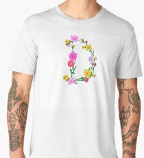 Elegant Colorful Floral Letter D Men's Premium T-Shirt