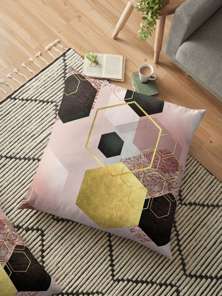 Abstract Geo in Blush Pink and Gold by UrbanEpiphany