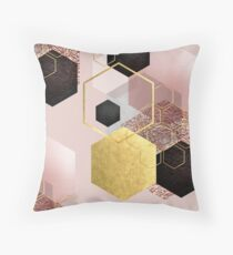 Abstract Geo in Blush Pink and Gold Floor Pillow