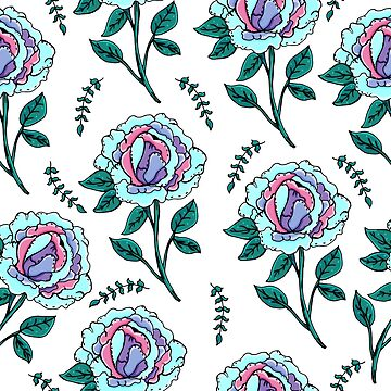 Seamless Peonies Pattern. Beautiful flowers. Manual drawing. Spring.  by dasha122007