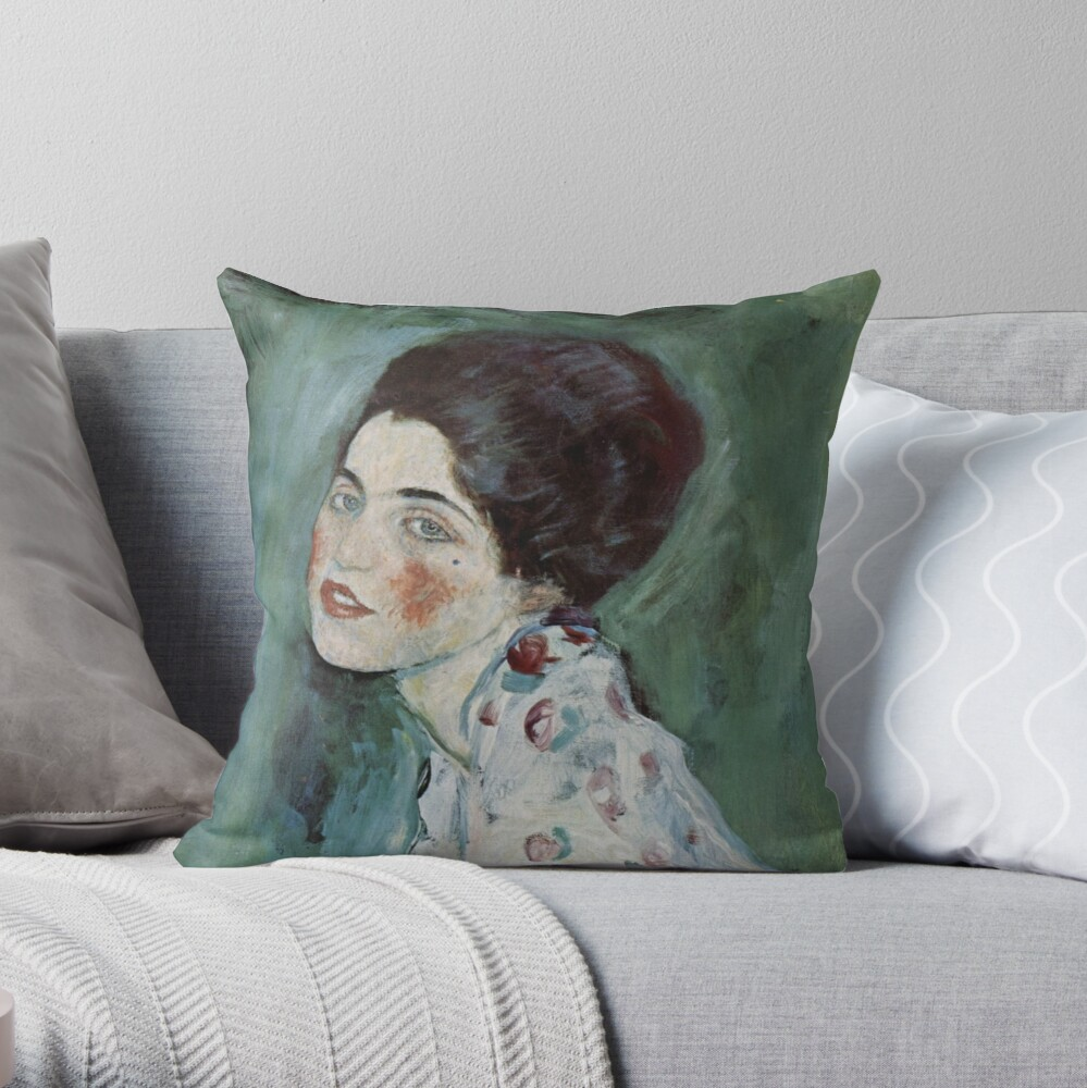 Stolen Art - Portrait of a Lady by Gustav Klimt Throw Pillow
