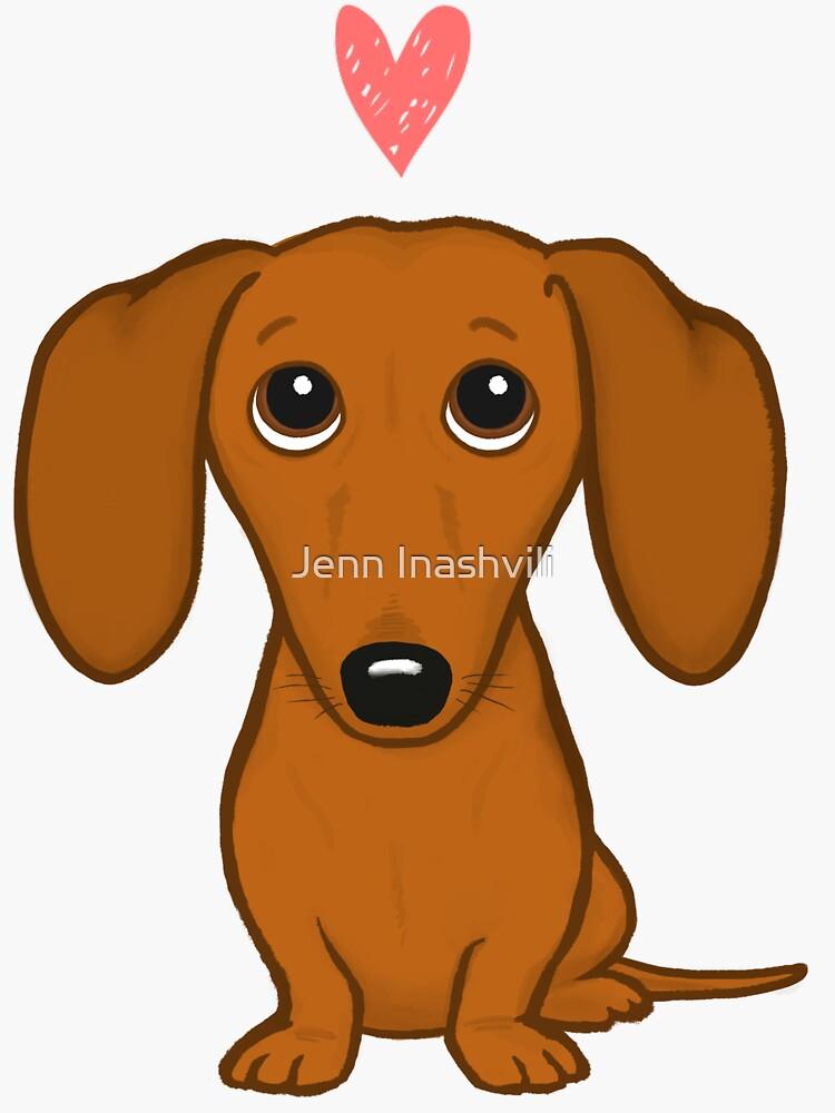 Cute Cartoon Dachshund with Heart by ShortCoffee