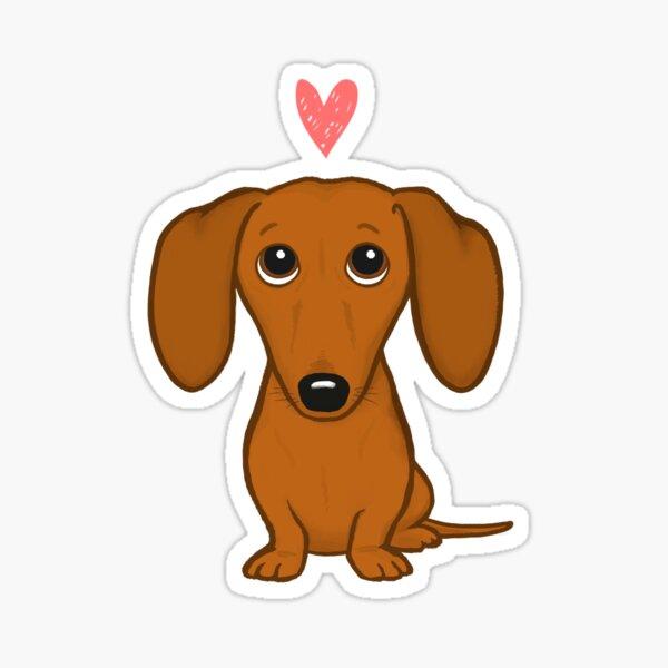 Cute Cartoon Dachshund with Heart Sticker