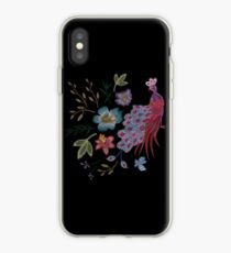 embroidered peacock iPhone Case